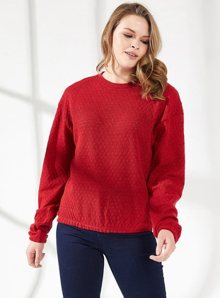 Red - Crew neck -  - Viscose - Blouses