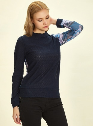 Navy Blue - Multi - Crew neck -  - Blouses
