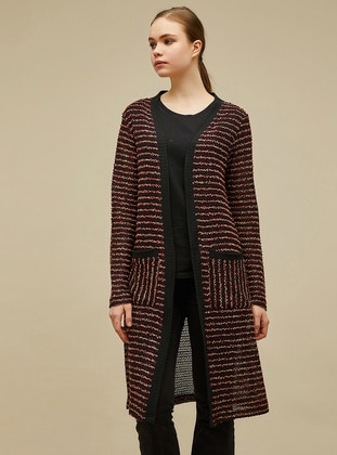 Maroon - Black - Stripe - Shawl Collar - - - Cardigan