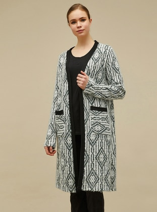 White - Black - Multi - Shawl Collar -  -  - Cardigan