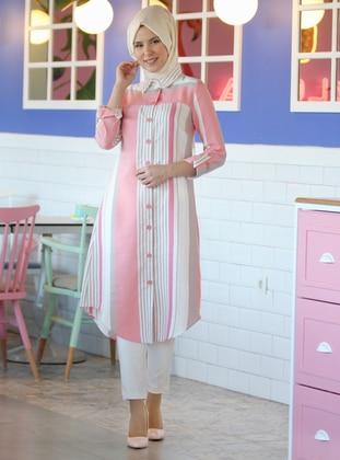 Pink - Stripe - Point Collar -  - Tunic