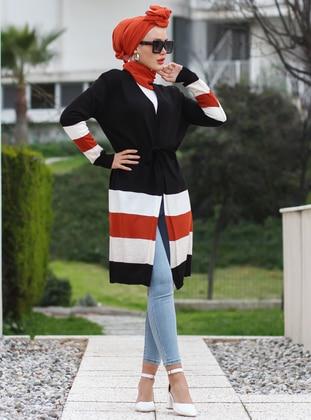 Black - Stripe - Shawl Collar - Acrylic -  -  - Cardigan - Por La Cara