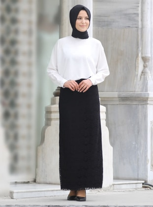 Fully Lined - Black -  - Evening Skirt - Nurkombin