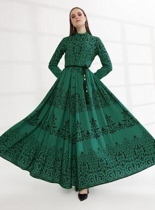Green - Multi - Unlined - Button Collar - Muslim Evening Dress