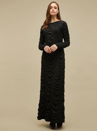 Black - Boat neck - Unlined -  - Dress