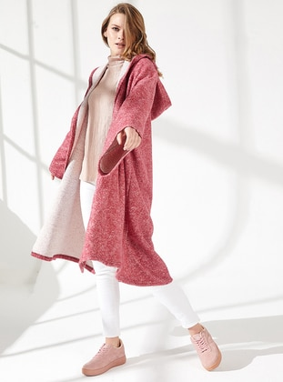 Red - Unlined -  - Viscose - Poncho