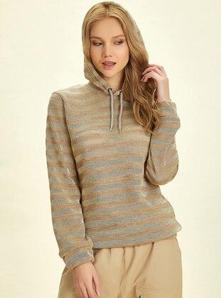 - Stripe - Gold - Brown - Sweat-shirt