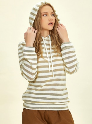 - Stripe - Gold - Cream - Sweat-shirt