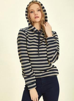 - Stripe - Gold - Navy Blue - Sweat-shirt