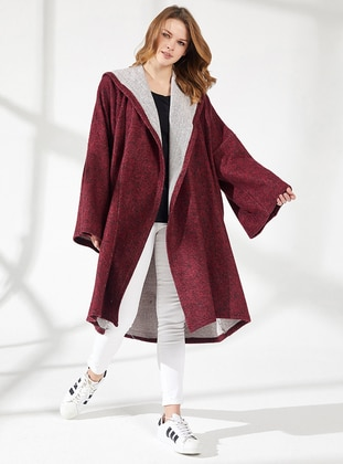 Maroon - Unlined -  - Viscose - Poncho - Nare