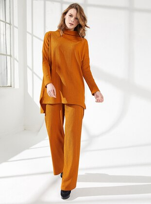 Orange - Unlined -  - Viscose - Suit