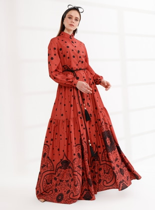 Terra Cotta - Polka Dot - Unlined - Button Collar - Muslim Evening Dress