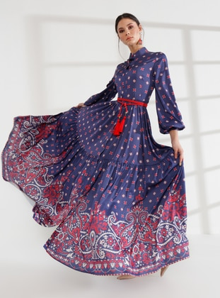Navy Blue - Polka Dot - Unlined - Button Collar - Muslim Evening Dress