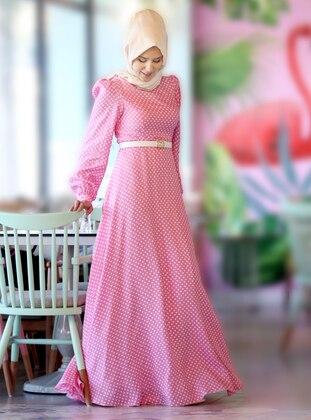 Pink - Polka Dot - Fully Lined -  - Dress