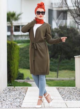 Khaki - Shawl Collar - Acrylic -  -  - Cardigan - Por La Cara