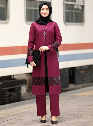 Unlined - Plum - Crew neck - Crepe - Evening Suit - Rabeysa
