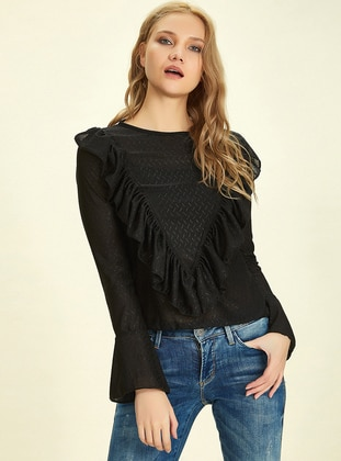 Black - Crew neck -  - Blouses