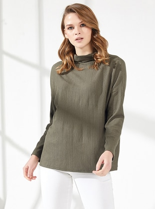 Khaki - Polo neck -  - Viscose - Blouses