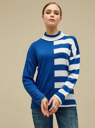 White - Blue - Polo neck -  -  - Blouses