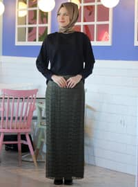 Fully Lined - Khaki -  - Evening Skirt