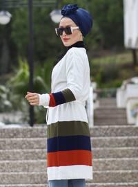 Ecru - Multi - Stripe - Shawl Collar - Acrylic -  -  - Cardigan