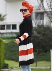 Black - Stripe - Shawl Collar - Acrylic -  -  - Cardigan