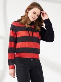 - Viscose - Stripe - Red - Black - Sweat-shirt
