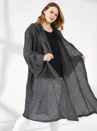 Gold - Navy Blue - Unlined - - Viscose - Poncho