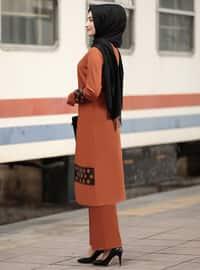 Unlined - Terra Cotta - Crew neck - Crepe - Evening Suit
