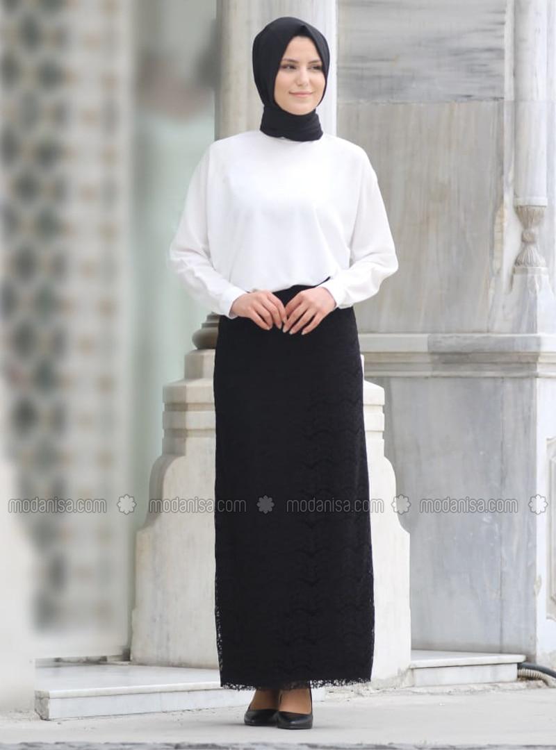 Fully Lined - Black -  - Evening Skirt
