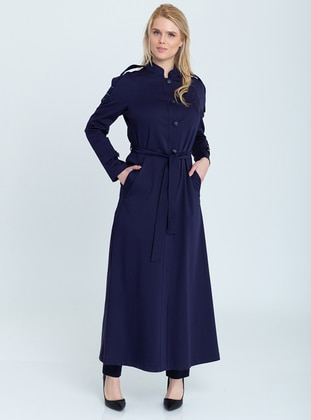 Navy Blue - Unlined - Crew neck -  - Topcoat