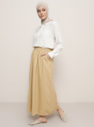 Camel - Unlined - Denim -  - Skirt