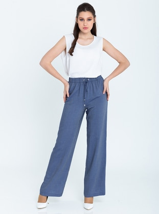 Blue - Viscose - Pants