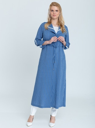 Blue - Stripe - Unlined - Shawl Collar -  - Viscose - Topcoat