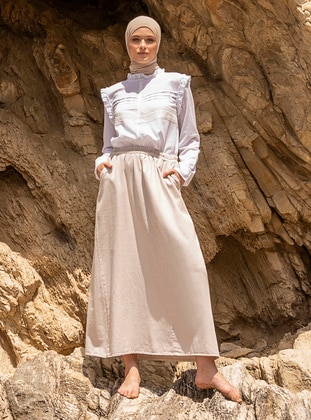 Beige - Unlined - Denim -  - Skirt
