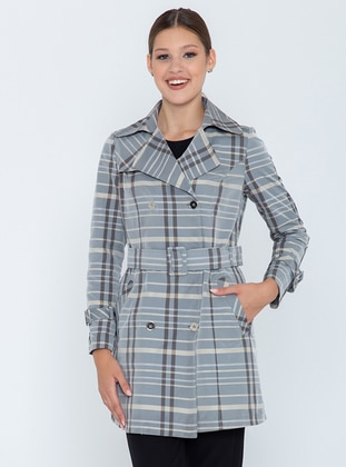 Beige - Gray - Plaid - Unlined - Shawl Collar - Trench Coat