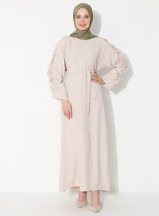 Beige - Crew neck - Unlined - Dress