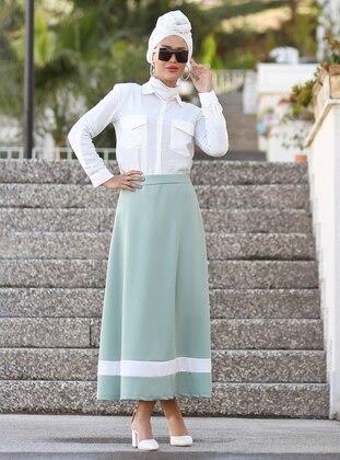 White - Mint - Unlined - Skirt