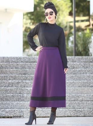 Purple - Black - Unlined - Skirt