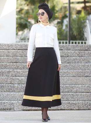 Mustard - Black - Unlined - Skirt