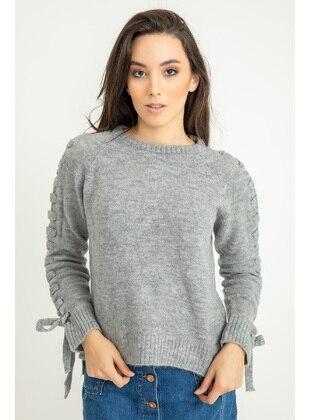 Gray - Knitwear - Kaktüs