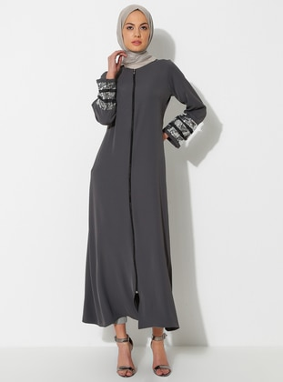 Anthracite - Silver tone - Unlined - Crew neck - Abaya