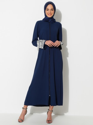 Silver tone - Navy Blue - Unlined - Crew neck - Abaya