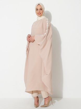 Camel - Crew neck - Unlined - Dress