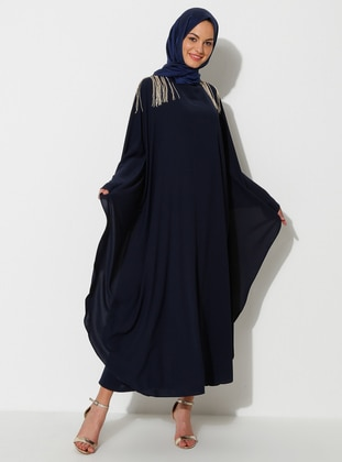 Gold - Navy Blue - Crew neck - Unlined - Dress