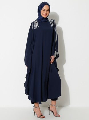 Silver tone - Navy Blue - Crew neck - Unlined - Dress