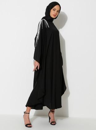 Silver tone - Black - Crew neck - Unlined - Dress