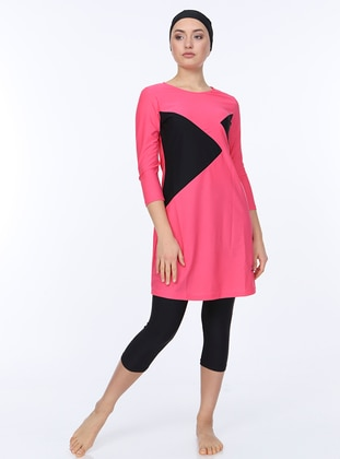 Pink - Black - Unlined - Half Covered Switsuits