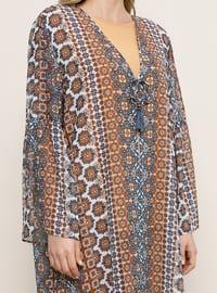 Multi - Multi - Unlined - V neck Collar - Plus Size Coat