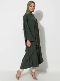 Haki - Yuvarlak yakalı - Astarsız kumaş - Elbise